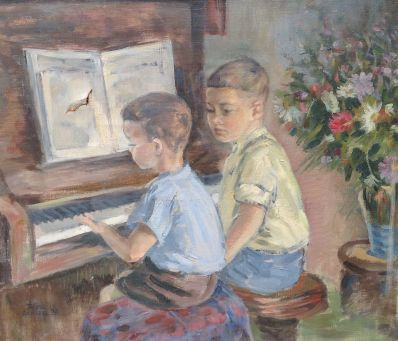 Kunstenaar Theo Scheer 9492, Theo Scheer Twee jongetjes achter de piano, gedateerd 1938 Olieverf op doek, beeldmaat: 60 x 70 cm Linksonder gesigneerd