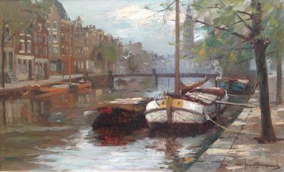 Schilderijen te koop, kunstschilderJan Korthals Geldersekade Amsterdam Olie op doek, gesigneerd, expositie Galerie Wijdemeren Breukeleveen