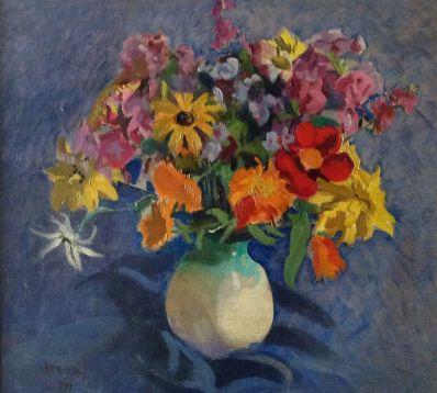 Kunstenaar Germ de Jong 9604, Germ de Jong bloemstilleven, '31 l.o. gesigneerd