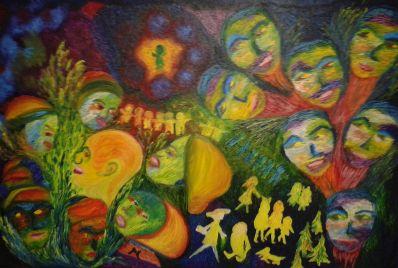 Kunstenaar Jan Martens 9732, Jan Martens De mensenmassa olie op doek, 90 x 60 cm