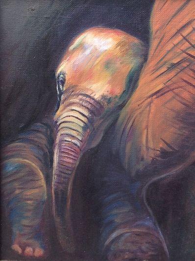 Kunstenaar Carin Janson 9755-4, Carin Janson 'Olifantenjong' olie op doek, 18 x 24 cm  Verkocht