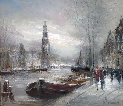 Schilderijen te koop van kunstschilder John Bevort Amsterdam in de winter met zicht op Westertoren olie op doek, gesigneerd, Expositie Galerie Wijdemeren Breukeleveen