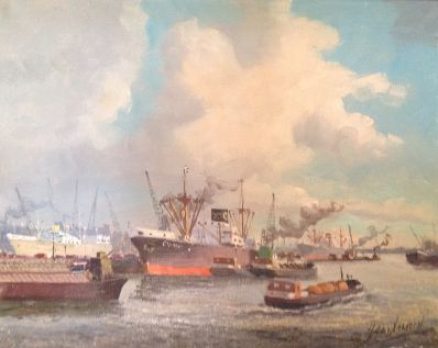 Kunstenaar Adri Verveen 9833, Adri Verveen olie op doek, 40 x 50 cm Haven Rotterdam verkocht