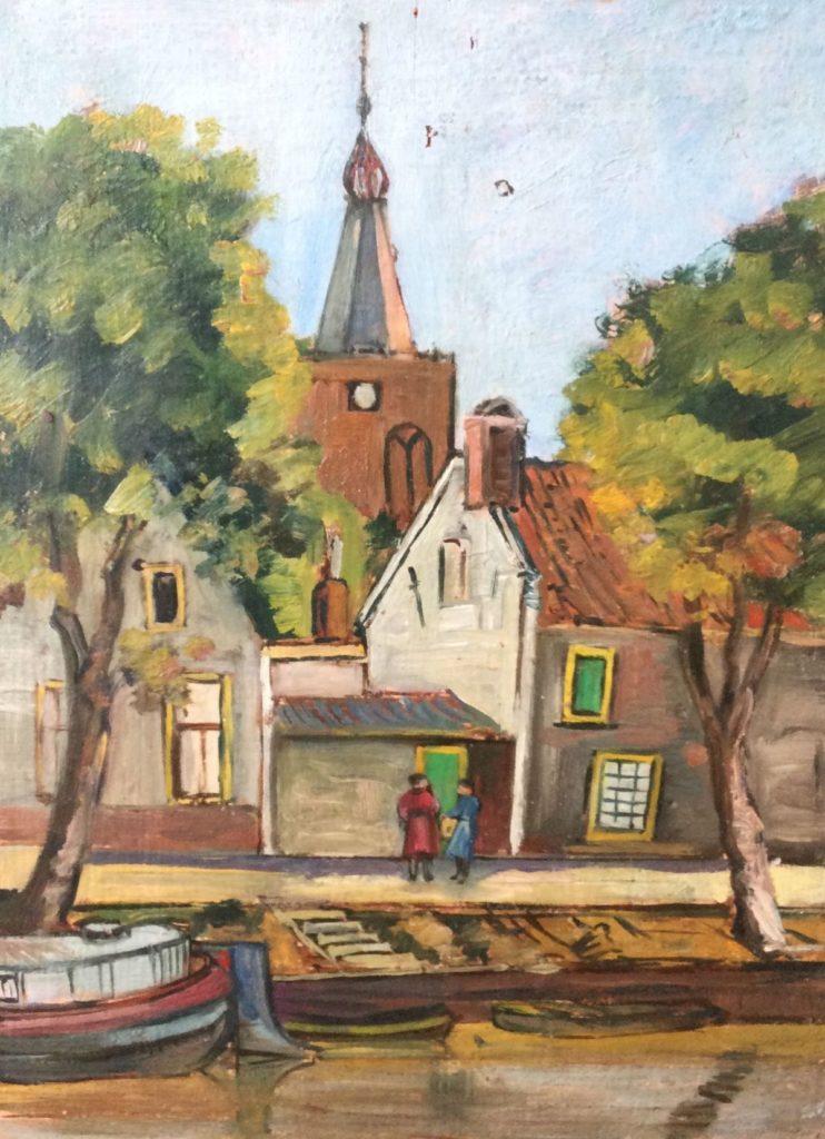 schilderijen te koop van kunstschilder, W.F. Daniels stadsgezicht langs de gracht olie op paneel, paneelmaat 28 x 21.5 cm, expositie, galerie wijdemeren breukeleveen