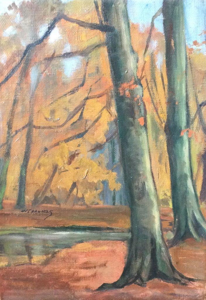 schilderijen te koop van kunstschilder, W.F. Daniels Herfstachtig bosgezicht olie op doek,doekmaat 25 x 18.5 cm linksmidden gesigneerd, expositie, galerie wijdemeren breukeleveen