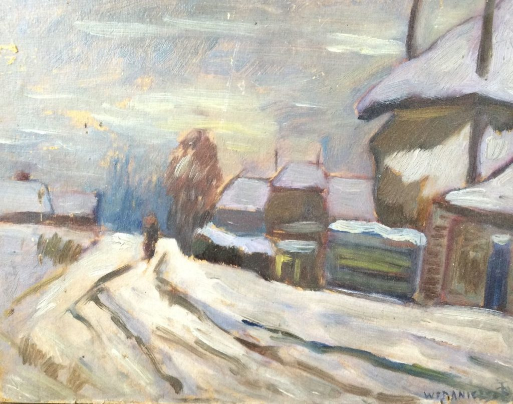 schilderijen te koop van kunstschilder, W,F. Daniels Boerenpaadje in de winter olie op karton, kartonmaat 20.5 x 25.5 cm rechtsonder gesigneerd, expositie, galerie wijdemeren breukeleveen
