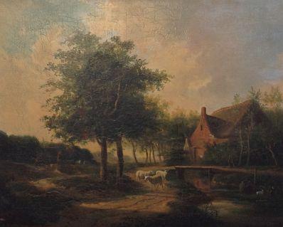 Kunstenaar Gerard Jan Bos 9863, Gerard Jan Bos Romantisch landschap met figuren Verkocht