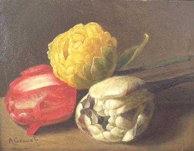 Kunstenaar Auguste Graux 9866, Auguste Graux olie op paneel verkocht