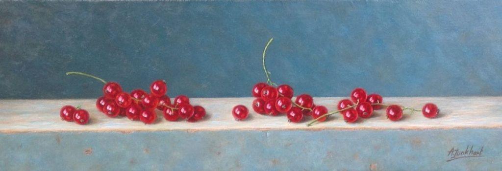 A1921 Annelies Jonkhart Stilleven met rode bessen Particuliere collectie, te koop bij Galerie Wijdemeren Breukeleveen, schilderijen, expositie