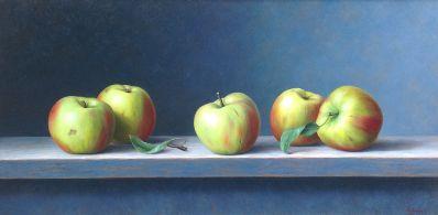schilderijen te koop van kunstschilder, Annelies Jonkhart Appels uit Mergelland olie op paneel, paneelmaat 30 x 60 cm rechtsonder gesigneerd, expositie, galerie wijdemeren breukeleveen