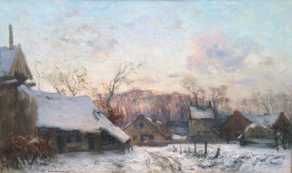 Schilderijen te koop van kunstschilder David Schulman winter in Laren olie op doek, gesigneerd, Expositie Galerie Wijdemeren Breukeleveen