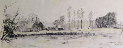 Schilderijen te koop van kunstschilder Jan den Hengst Loosdrecht potloodschets, beeldmaat 12 x 30 cm rechtsonder gesigneerd, Expositie Galerie Wijdemeren Breukeleveen
