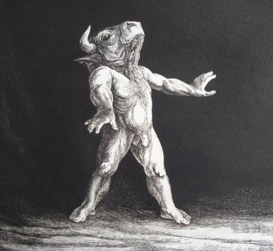 Kunstenaar Dick Stolwijk A2019-5, Dick Stolwijk, ets Taurus,17/25 EA gesigneerde gedetailleerde ets uit de Taurus serie Voorstelling: Taurus. Gesigneerd r.o. in potlood, genummerd l.o. 17/25. Eigen druk. 30 x 30 cm, gereserveerd
