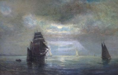 Kunstenaar Hendrik van Steenwijk A2042, H. van Steenwijk Zeilschepen bij maanlicht olie op doek, 40 x 61 cm Verkocht