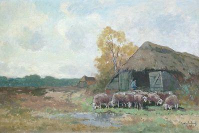 Kunstenaar Andries Verleur A2102 Andries Verleur olie op doek, 40 x 60 cm Herder met schaapskudde bij schaapskooi