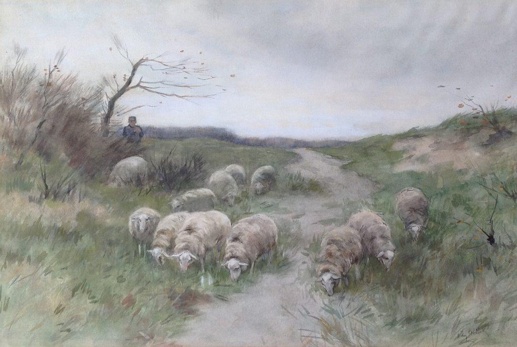 Schilderijen te koop van kunstschilder W. Steelink Herder met Schaapskudde op de heide Aquarel op papier, gesigneerd, Expositie Galerie Wijdemeren Breukeleveen