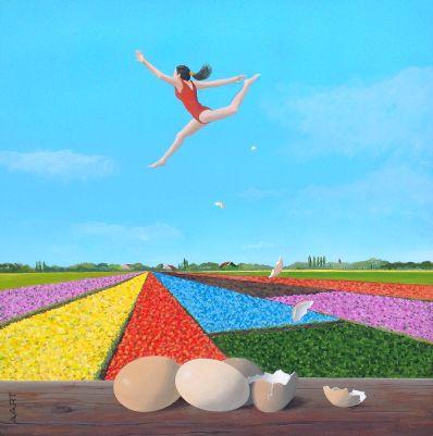 schilderijen te koop van kunstschilder, Aart Kessel De Eisprong acryl op paneel, paneelmaat 30 x 30 cm gesigneerd linksonder, expositie, galerie wijdemeren breukeleveen