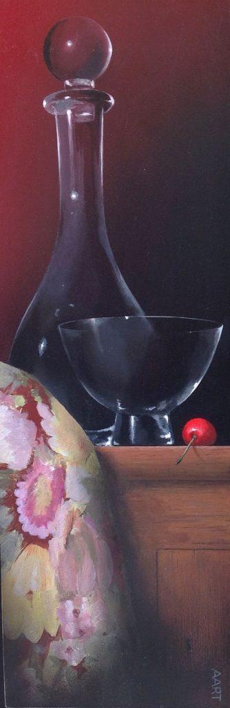 Kunst te koop bij Galerie Wijdemeren van kunstschilder Aart Kessel Stilleven met kers acryl op paneel particuliere collectie