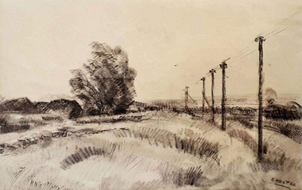 Kunst te koop bij Galerie Wijdemeren van kunstschilder Cor Noltee Landschap met elektriciteitspalen tekening op reliëfpapier, beeldmaat 30 x 47 cm rechtsonder gesigneerd