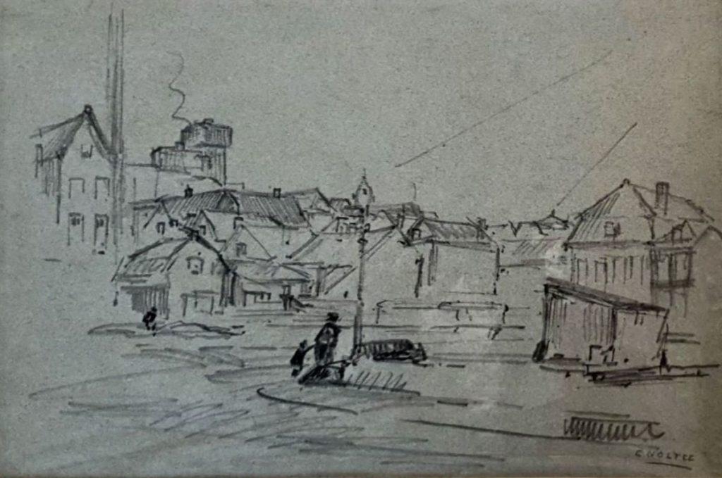 Kunst te koop bij Galerie Wijdemeren van kunstschilder Cor Noltee Dorpsgezicht houtskool op papier, beeldmaat 30 x 45.5 cm rechtsonder gesigneerd
