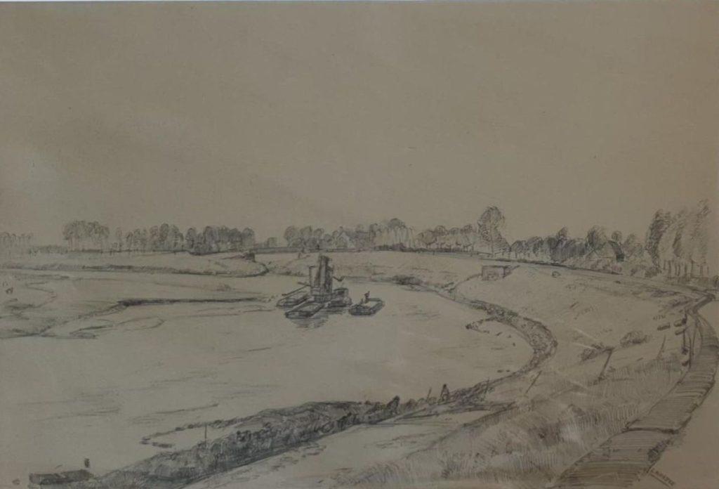 Kunst te koop bij Galerie Wijdemeren van kunstschilder Cor Noltee Dijkgezicht potloodtekening, beeldmaat 33 x 49 cm rechtsonder gesigneerd