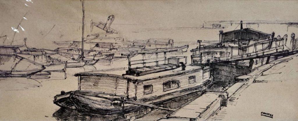 Kunst te koop bij Galerie Wijdemeren van Cor Noltee Havengezichtje pentekening, 19 x 48 cm rechtsonder gesigneerd