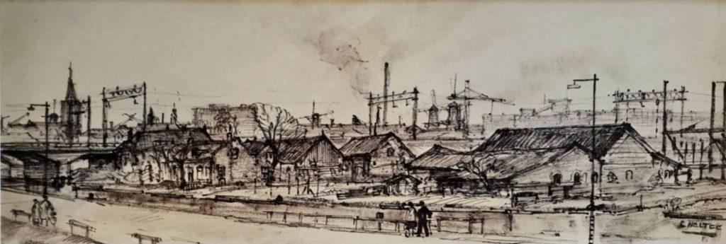 Kunst te koop bij Galerie Wijdemeren van kunstschilder Cor Noltee Amsterdam pentekening, 16 x 47 cm rechtsonder gesigneerd