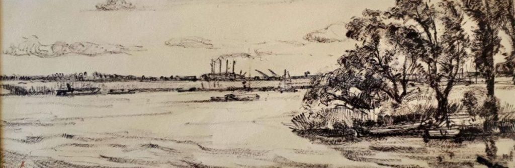 Kunst te koop bij Galerie Wijdemeren van kunstschilder Cor Noltee Langs het kanaal ets op reliëfpapier, beeldmaat 16 x 47 cm rechtsonder gesigneerd