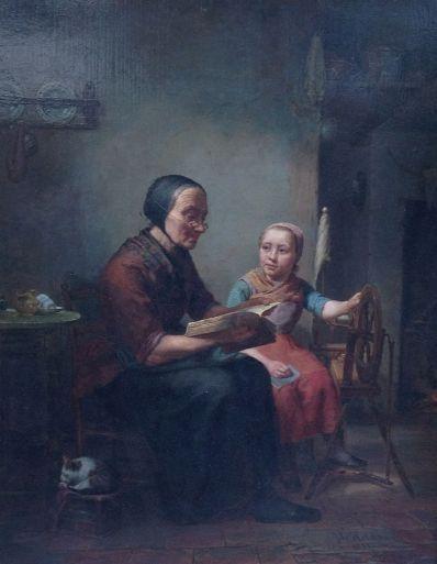 Kunstenaar Johannes Helder B9734, Johannes Helder Voordracht uit de Bijbel olie op paneel, 52 x 39 cm gereserveerd