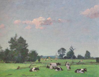 Kunstenaar Johannes Ates A2298 Johannes Ates Landschap met koeien Verkocht