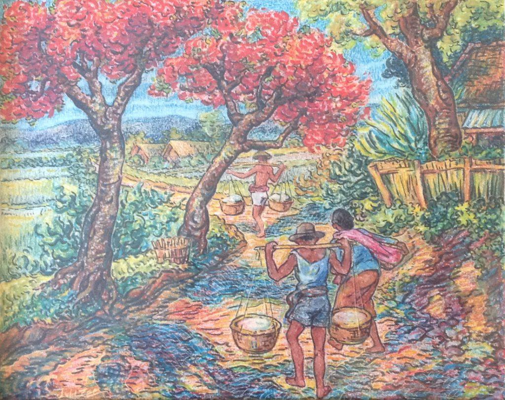 schilderijen te koop, landarbeiders in Indonesisch pastelkleurkrijttekening, beeldmaat 29 x 38 cm Linksonder gesigneerd J. v.d. Zee, expositie, galerie wijdemeren breukeleveen
