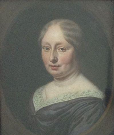 Kunstenaar Michiel van Musscher A2558, Michiel van Musscher Portret van zijn tweede vrouw Ovaal geschilderd op koper