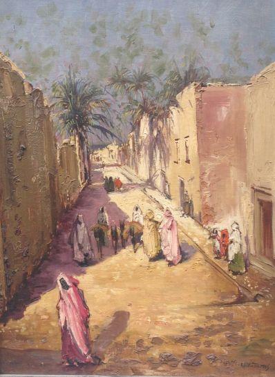 Kunstenaar Jan Melcher Tilmes A2680, Jan Hermanus Melcher Tilmes  Mediterraans straatje  Olieverf