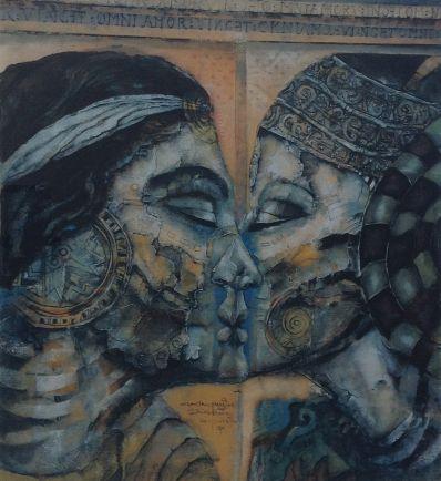 Kunstenaar Astrid Engels A2753, Astrid Engels 'De kus' Litho