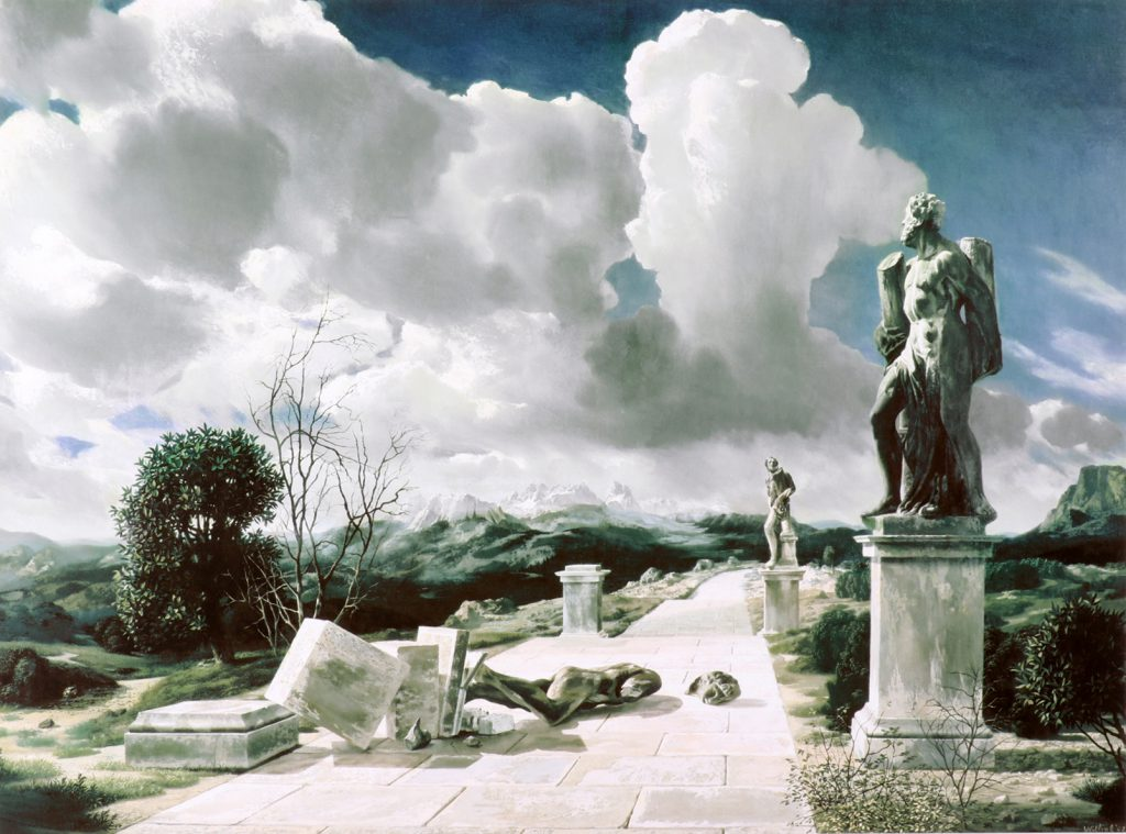 Kunstenaar Carel Willink A2766, Carel Willink, Surrealistisch landschap lithografie, beeldmaat, 66 x 89 cm verkocht