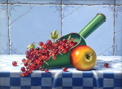 Kunstenaar Roelof Smelt A3061, Roelof Smelt stilleven met rode bessen olieverf