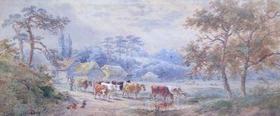 Kunstenaar H. Erp A3140, H. Erp 'Landschap met koeien' Aquarel
