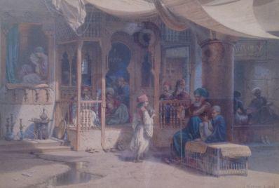 Kunstenaar Carl Friedrich Heinrich Werner A3141, Carl Wemer, aquarel Oosterse voorstelling