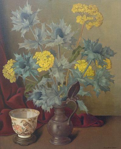 Schilderijen te koop van kunstschilder Joan van Gent Bloemstilleven Olie op doek, 50.3 x 40.4 cm rechtsonder gesigneerd, Expositie Galerie Wijdemeren Breukeleveen