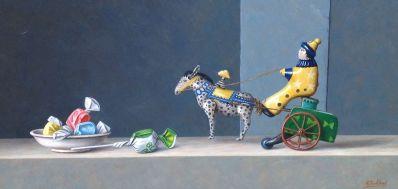 A3166 Annelies Jonkhart Blikken speelgoed Olieverf op paneel, 20 x 40 cm verkocht, te koop bij Galerie Wijdemeren Breukeleveen, schilderijen, expositie