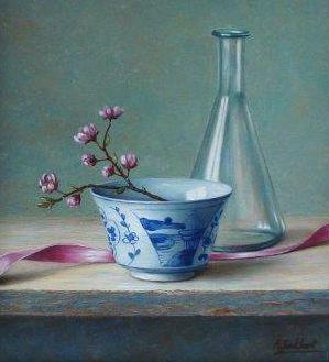 A3868 Annelies Jonkhart Chinees schaaltje, prunus verkocht, te koop bij Galerie Wijdemeren Breukeleveen, schilderijen, expositie