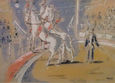 Kunstenaar Gerard Hordijk A3226 Gerard Hordijk paardenact in circuspiste gouache 27 x 37 cm r.o. gesigneerd verkocht