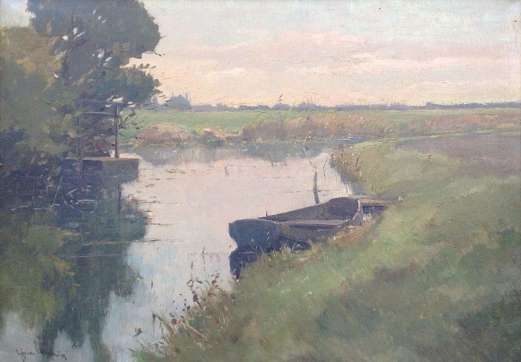 Kunstenaar Gijs van Schaik A3316, Gijs van Schaik, Kortenhoefse Rade Olie op doek Verkocht