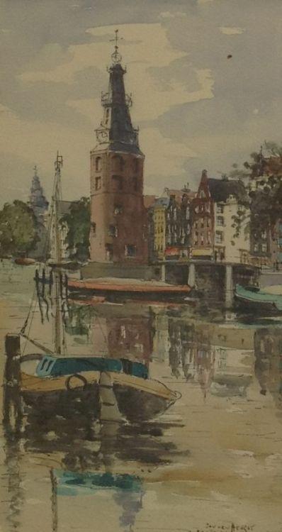 Schilderijen te koop, kunstschilder Jan den Hengst Amsterdam Aquarel rechtsonder gesigneerd, Expositie Galerie Wijdemeren Breukeleveen