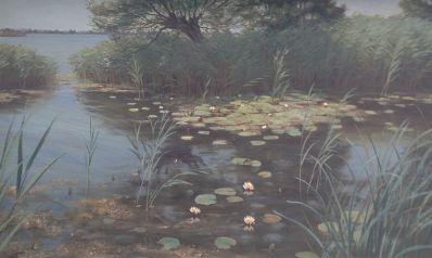 Schilderijen te koop van kunstschilder J.L. van der Meide Plasgezicht met waterlelies olie op doek, gesigneerd, Expositie Galerie Wijdemeren Breukeleveen