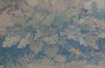 Kunstenaar Jan Voerman jr. A3591, Jan Voerman junior, krijttekening planten en bladgroen in de tuin, 31 x 47 cm