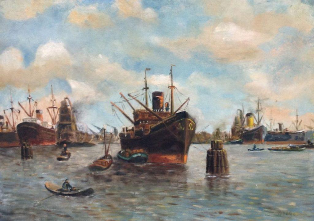 schilderijen te koop van kunstschilder, Van der Berg Havengezicht Rotterdam Olie op doek, gesigneerd, expositie, galerie wijdemeren breukeleveen