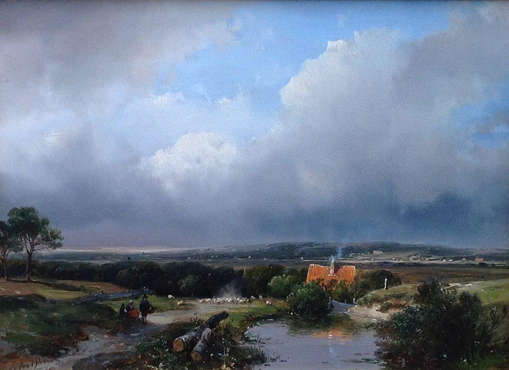 Schilderijen te koop van kunstschilder Andreas Schelfhout Panoramisch landschap olie op paneel, gesigneerd, Expositie Galerie Wijdemeren Breukeleveen