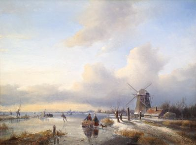 Kunstenaar Jan Jacob Spohler A3657 J.J. Spohler ijsgezicht olie op paneel 43,5 x 58 cm verkocht