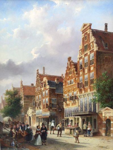 Kunstenaar Fred Arends A366 Fred Arends Rembrandthuis te Amsterdam olie op paneel, 80 x 60 cm r.o. gesigneerd particuliere collectie